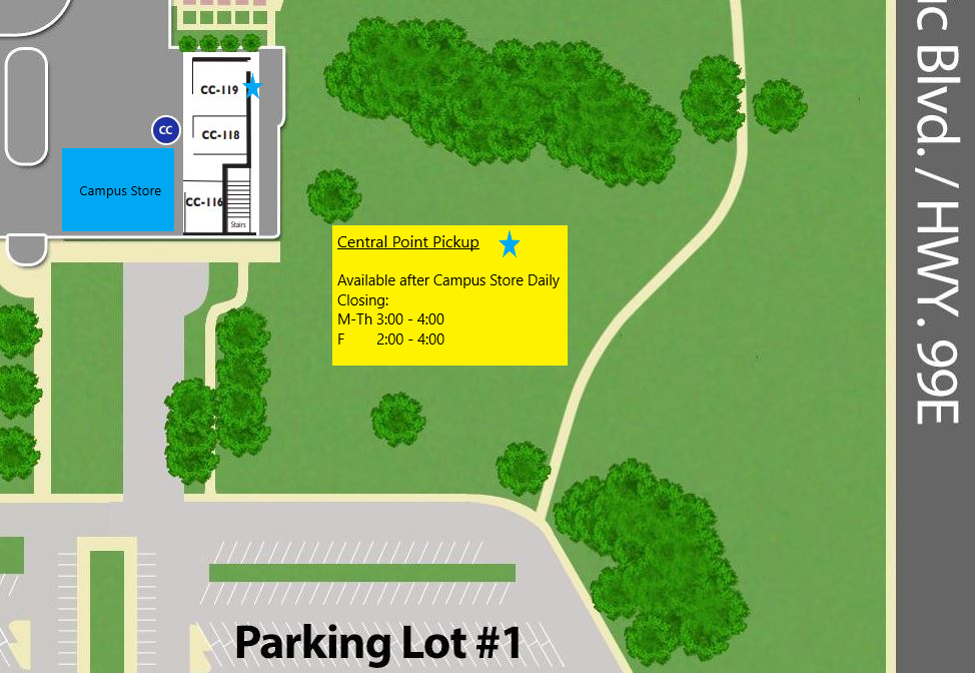 Map of central point bookstore pickup