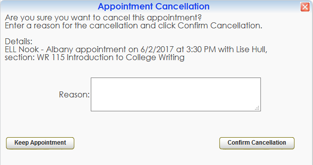 Confirm Cancellation