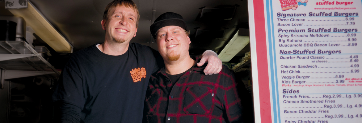 Cheesy Stuffed Burger co-owners Mark Enke, left, and Devan Elkins