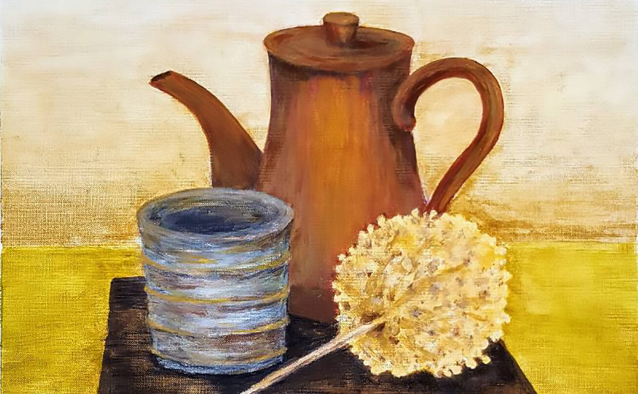 Still life painting of a cup, teapot, and flower