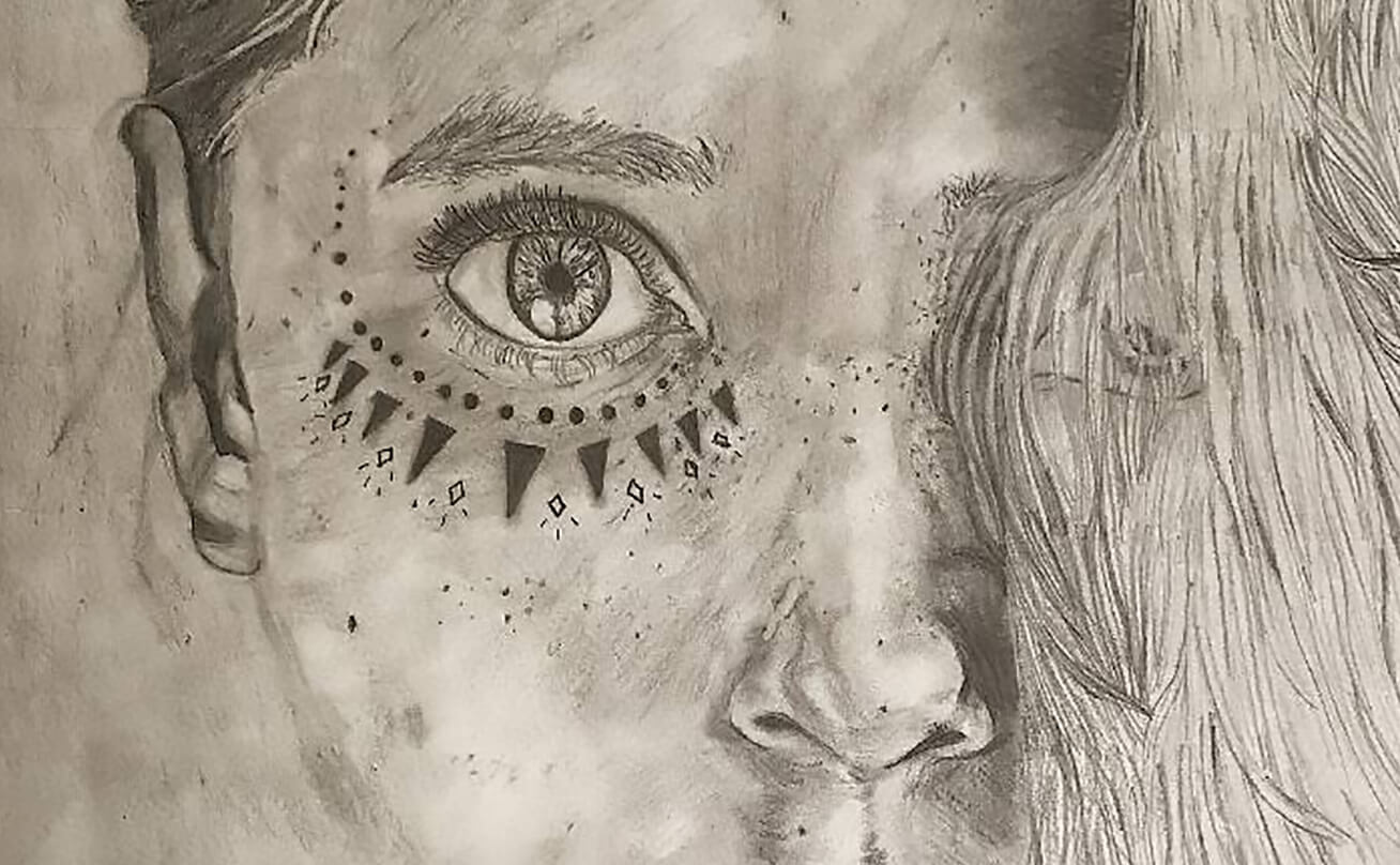 Pencil drawing of a woman's eye
