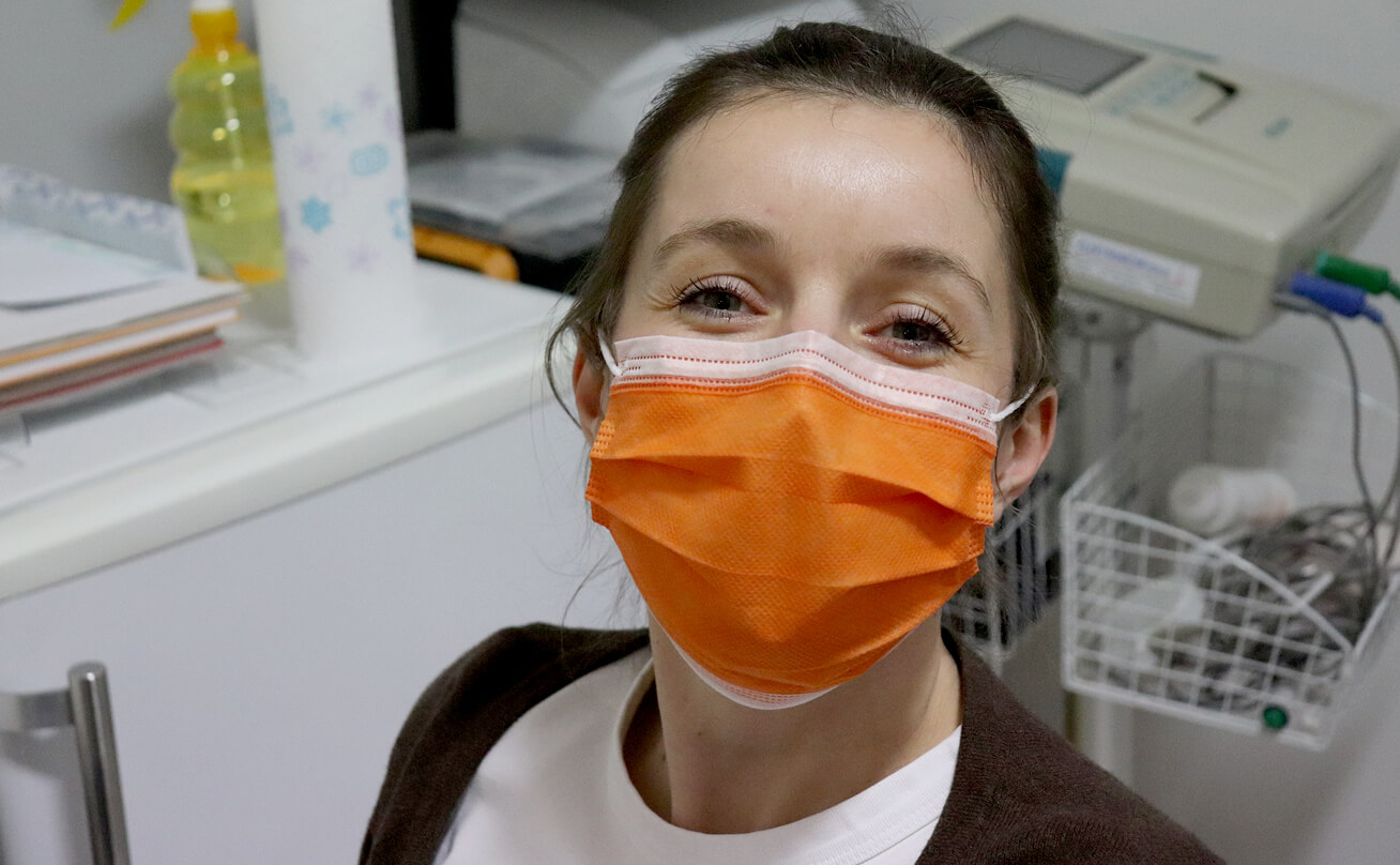 Female student with surgical mask