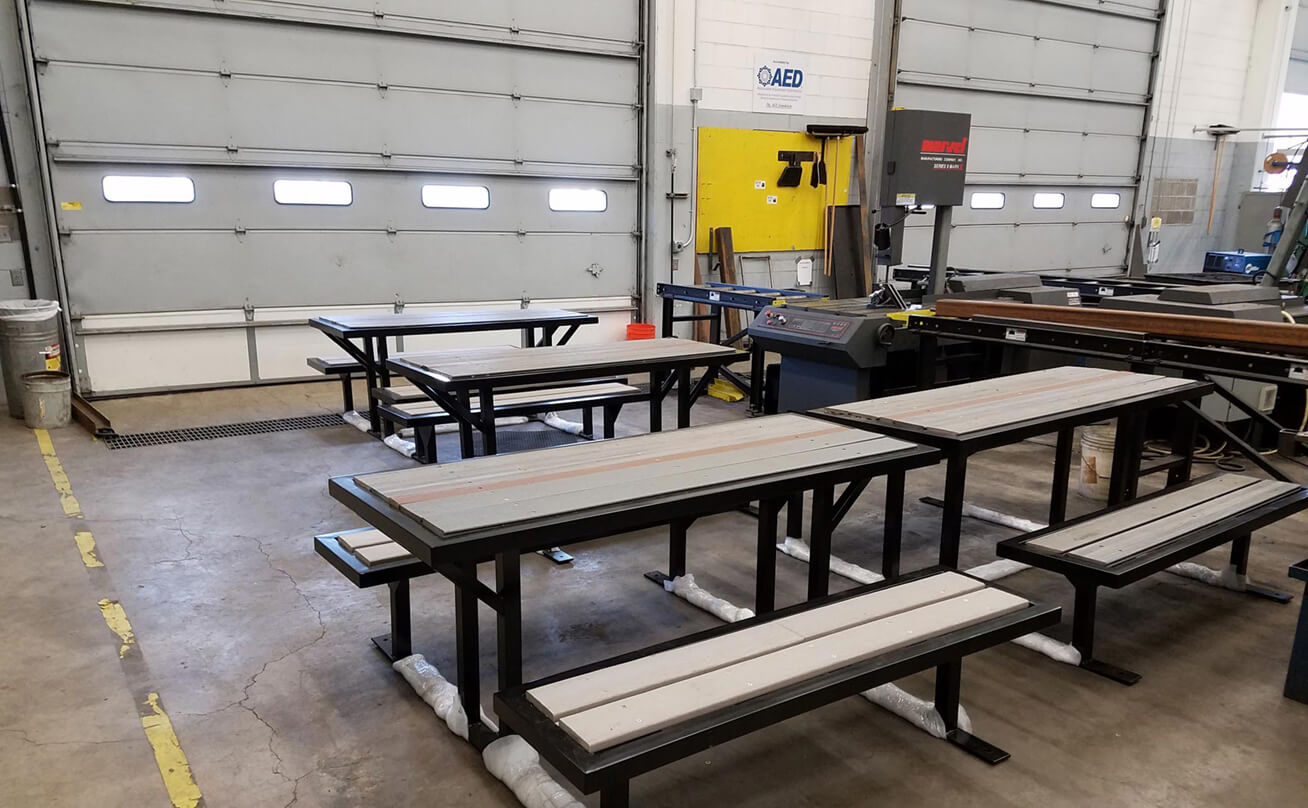 Welding classroom with tables